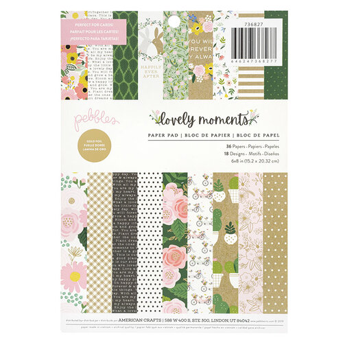 Pebbles - Lovely Moments Collection - 6 x 8 Paper Pad with Foil Accents