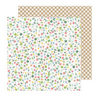 Pebbles - Lovely Moments Collection - 12 x 12 Double Sided Paper - Flower Toss
