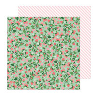 Pebbles - Lovely Moments Collection - 12 x 12 Double Sided Paper - Strawberry Fields