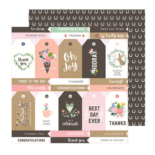 Pebbles - Lovely Moments Collection - 12 x 12 Double Sided Paper - Lovely Tags