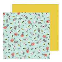 Pebbles - Hey, Hello Collection - 12 x 12 Double Sided Paper - Bee Blossoms
