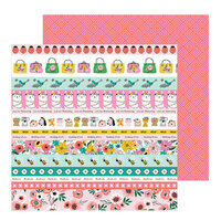 Pebbles - Hey, Hello Collection - 12 x 12 Double Sided Paper - Sentiment Strips