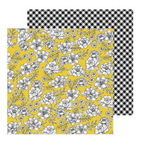 Pebbles - Hey, Hello Collection - 12 x 12 Double Sided Paper - Yellow Roses