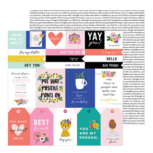 Pebbles - Hey, Hello Collection - 12 x 12 Double Sided Paper - Girlfriend Sentiments
