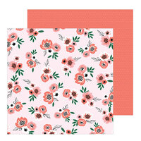 Pebbles - Hey, Hello Collection - 12 x 12 Double Sided Paper - Blushing Blooms