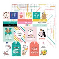 Pebbles - Hey, Hello Collection - 12 x 12 Double Sided Paper - Birthday Sentiments