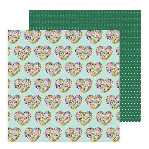 Pebbles - Hey, Hello Collection - 12 x 12 Double Sided Paper - Floral Hearts
