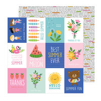 Pebbles - Sun and Fun Collection - 12 x 12 Double Sided Paper - Quotes