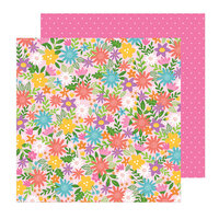 Pebbles - Sun and Fun Collection - 12 x 12 Double Sided Paper - Summer Bouquet