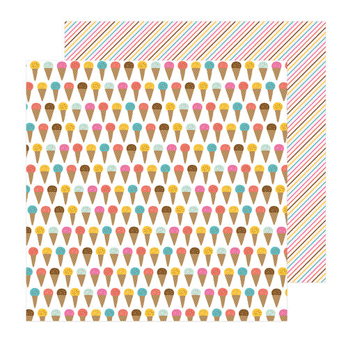 Pebbles - Sun and Fun Collection - 12 x 12 Double Sided Paper - Ice Cream Yum