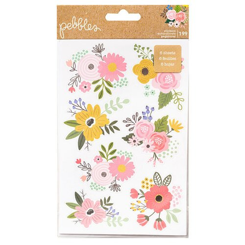 Pebbles - Lovely Moments Collection - Cardstock Sticker Book with Foil Accents