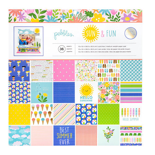 Pebbles - Sun and Fun Collection - 12 x 12 Paper Pad with Holographic Foil Accents