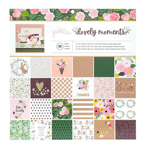 Pebbles - Lovely Moments Collection - 12 x 12 Paper Pad with Foil Accents