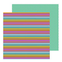 Pebbles - Live Life Happy Collection - 12 x 12 Double Sided Paper - Rainbow Stripes
