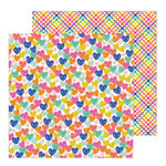 Pebbles - Live Life Happy Collection - 12 x 12 Double Sided Paper - Smiling Hearts