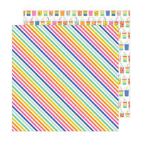 Pebbles - Live Life Happy Collection - 12 x 12 Double Sided Paper - Rad Stripes
