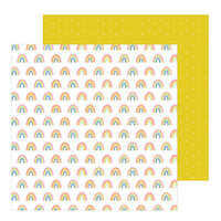 Pebbles - Live Life Happy Collection - 12 x 12 Double Sided Paper - Happy Rainbows