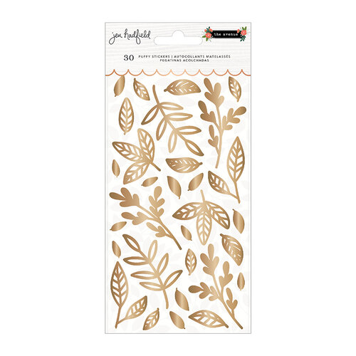 Pebbles - The Avenue Collection - Stickers - Puffy Leaves with Gold Foil Accents