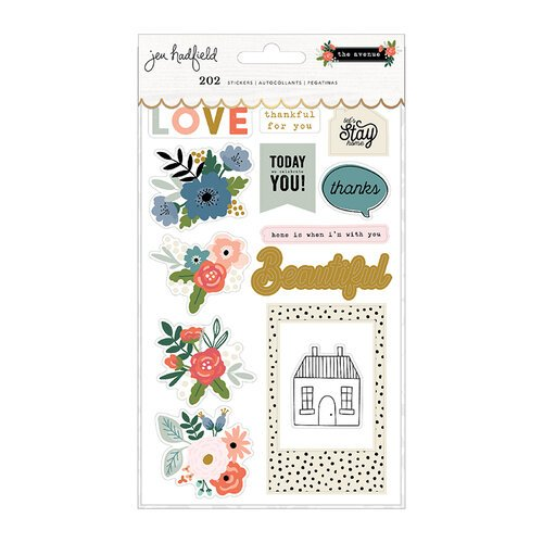 Pebbles - The Avenue Collection - Cardstock Sticker Book with Gold Foil Accents