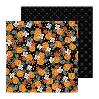 Pebbles - Spoooky Collection - 12 x 12 Double Sided Paper - Spoooky Blooms
