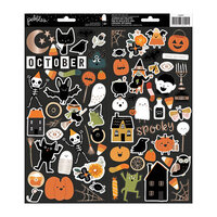 Pebbles - Spoooky Collection - 6 x 12 Cardstock Stickers with Gold Foil Accents