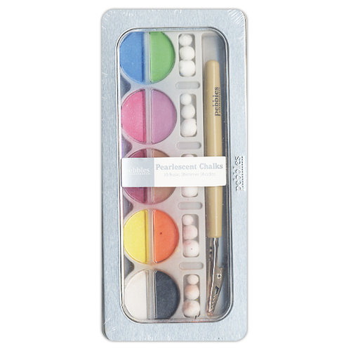 American Crafts - Pebbles - Pearlescent Chalk Set - 10 Piece - Brights