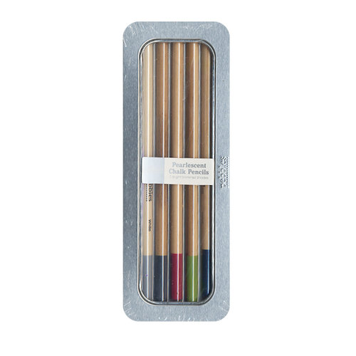 American Crafts - Pebbles - Chalk Pencil Set - 5 Piece - Pearlescent - Brights
