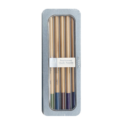 American Crafts - Pebbles - Chalk Pencil Set - 5 Piece - Pearlescent - Pastels
