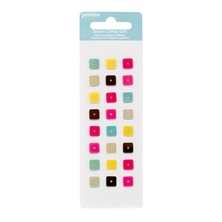 American Crafts - Pebbles - Hip Hip Hooray Collection - Self Adhesive Candy Dots - Square Sequins