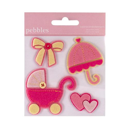 American Crafts Pebbles Layered Felt Embellishments Baby Girl
