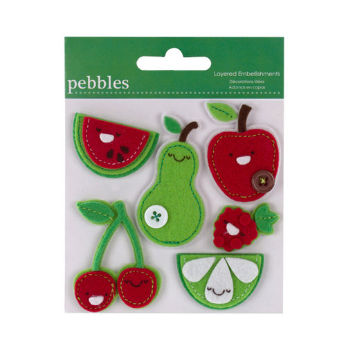 American Crafts - Pebbles - Layered Felt Embellishments - Red and Green Fruit, CLEARANCE