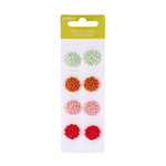 American Crafts - Pebbles - Happy Go Lucky Collection - Brads - Glitter Flower Brads