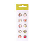 American Crafts - Pebbles - Happy Go Lucky Collection - Epoxy Brads