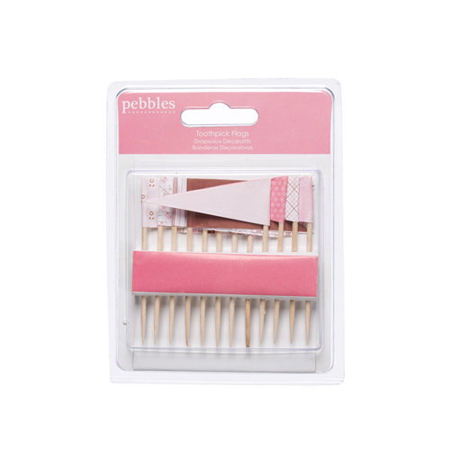 American Crafts - Pebbles - New Addition Girl Collection - Toothpick Flags