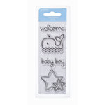 American Crafts - Pebbles - New Addition Boy Collection - Clear Acrylic Stamps