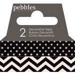 American Crafts - Pebbles - Basics Collection - Washi Tape - Dot and Chevron - Black