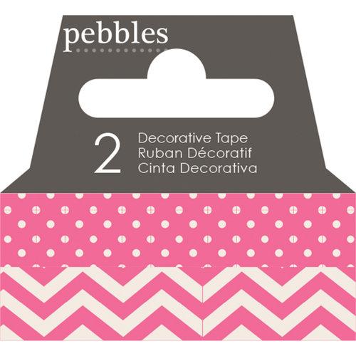 Pebbles - Basics Collection - Washi Tape - Dot and Chevron - Begonia