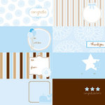 American Crafts - Pebbles - New Arrival Collection - 12 x 12 Embossed Double Sided Paper - Cards Boy