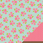 American Crafts - Pebbles - Floral Lane Collection - 12 x 12 Double Sided Textured Paper - With Delight