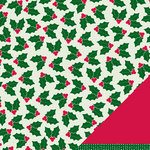 American Crafts - Pebbles - Welcome Christmas Collection - 12 x 12 Embossed Double Sided Paper - Holly Jolly