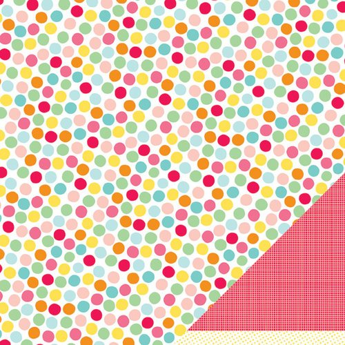 American Crafts - Pebbles - Hip Hip Hooray Collection - 12 x 12 Double Sided Glitter Paper - Party Time