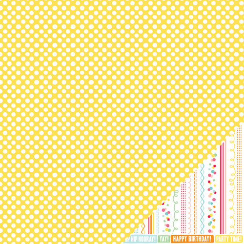 American Crafts - Pebbles - Hip Hip Hooray Collection - 12 x 12 Double Sided Paper - Happy Day