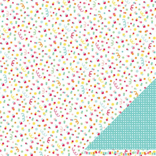 American Crafts - Pebbles - Hip Hip Hooray Collection - 12 x 12 Double Sided Glitter Paper - Confetti