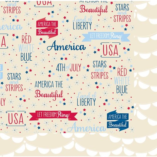 American Crafts - Pebbles - Let Freedom Ring Collection - 12 x 12 Double Sided Kraft Paper - Samuel Adams