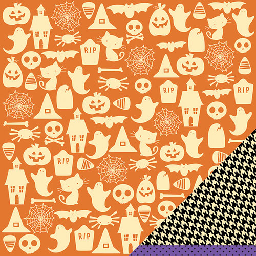 American Crafts - Pebbles - Tricks and Treats Collection - Halloween - 12 x 12 Double Sided Paper - Spooky St.