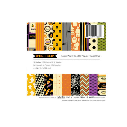 American Crafts - Pebbles - Tricks and Treats Collection - Halloween - 6 x 6 Paper Pad