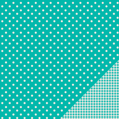 Pebbles - Basics Collection - 12 x 12 Double Sided Paper - Aqua Dot