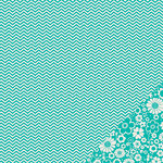 American Crafts - Pebbles - Basics Collection - 12 x 12 Double Sided Paper - Aqua Chevron