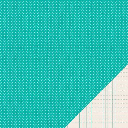 Pebbles - Basics Collection - 12 x 12 Double Sided Paper - Aqua Mini Dot