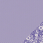 American Crafts - Pebbles - Basics Collection - 12 x 12 Double Sided Paper - Purple Chevron